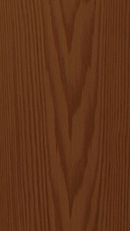 Cedar shingle, semi-transparent stain walnut, russet, flat grain